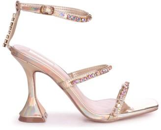Linzi MILLIONAIRE - Gold Iridescent Diamante Embellished Flared Heel With Square Toe