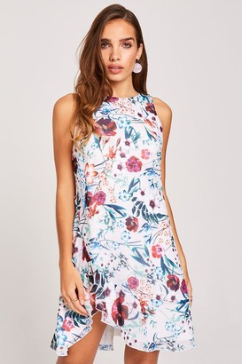 Little Mistress Ria Floral-Print Frill Shift Dress