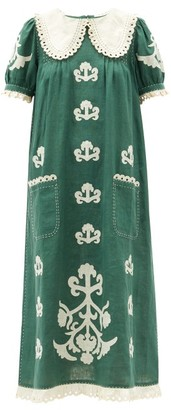 Vita Kin - Daisy Oversized-collar Embroidered Linen Dress - Green White