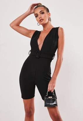 Missguided Black Belted V Neck Unitard