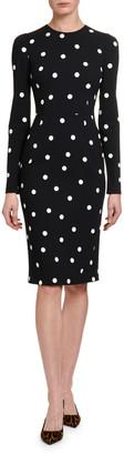 Dolce & Gabbana Long-Sleeve Polka-Dot Bodycon Dress