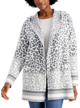 Style&Co. Style & Co Hooded Leopard-Print Cardigan, Created for Macy's