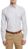 Brioni Striped Sport Shirt, Light Blue/Tan