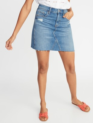 Old Navy High-Waisted Frayed-Hem Distressed Jean Skirt for Women