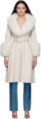 Saks Potts White Fur Foxy Coat