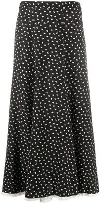 Miu Miu Heart Polka-Dot Midi Skirt