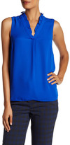 Ellen Tracy Ruffle V-Neck Sleeveless Blouse