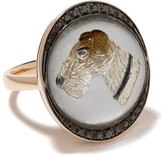 Francesca Villa 18kt Yellow Gold Dog Diamond Ring