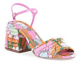 Fendi Women's Floral-Print Block-Heel Sandals