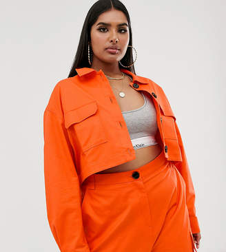 Asos DESIGN Curve cropped utility suit blazer in orange