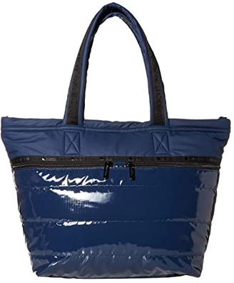 Le Sport Sac Carlin Tote (Navy Patent) Handbags