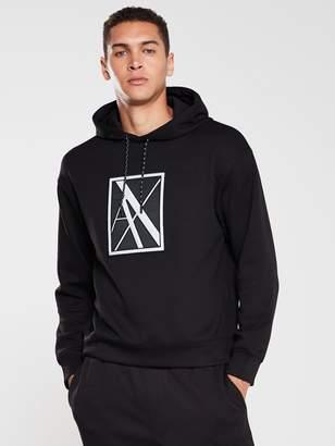 Armani Exchange Reflective Logo Hoodie - Black