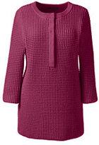 Lands' End Women's Plus Size 3/4 Sleeve Henley Tunic Sweater-Black/Bavarian Creme