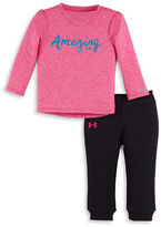 Under Armour Baby Girls Amazing Two-Piece Heathered Top and Jogger Pants Set
