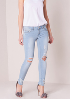 Missy Empire Marlie Distressed Ripped Knee Skinny Jeans