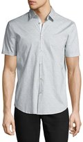 John Varvatos Dot-Print Slim-Fit Short-Sleeve Sport Shirt, Gray