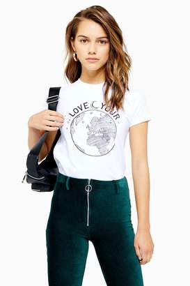 Topshop Womens Petite 100% Organic Cotton Love Your World Top - White