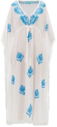 Melissa Odabash Safiah Drawstring Embroidered Voile Kaftan Dress - Womens - White Multi