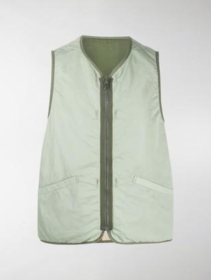 Visvim contrast trim V-neck gilet jacket