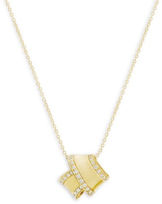 Carelle Knot 18K Yellow Gold & Diamond Pendant Necklace