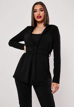 Missguided Black Co Ord Self Fabric Belted Blazer