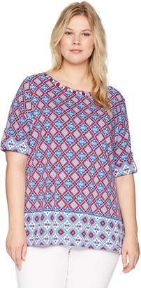 Ruby Rd. Women's Plus Size Roll-Tab Elbow Sleeve Printed Cotton Knit Top