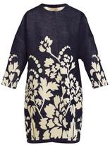 Märit Ilison - Reversible Floral-intarsia Cotton Coat - Womens - Navy Multi
