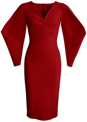 L'momo Box Pleated Sleeve Dress In Wine