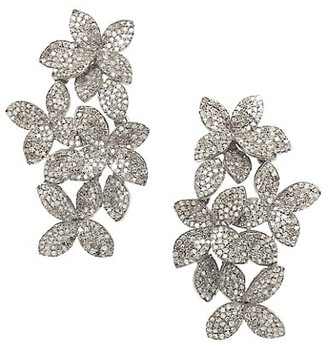 Nina Gilin 14K Yellow Gold & Black Rhodium Silver Diamond Floral Earrings
