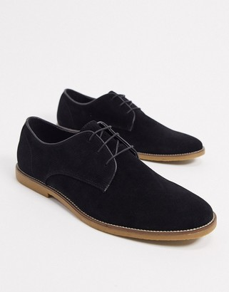 Topman suede derby shoes in black