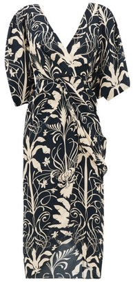 Johanna Ortiz Modern Visionary Crepe De Chine Dress - Black Cream