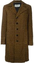 Saint Laurent leopard print overcoat - women - Cotton/Goat Skin/Cupro - 38