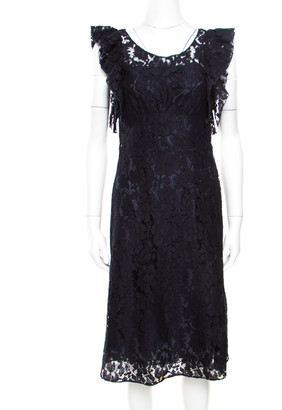 Prada Navy Blue Floral Lace Ruffled Sleeveless Dress S