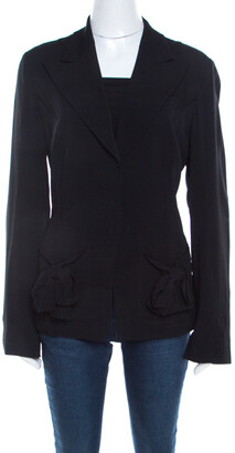 Sonia Rykiel Black Crepe Bow Pocket Detail Jacket L