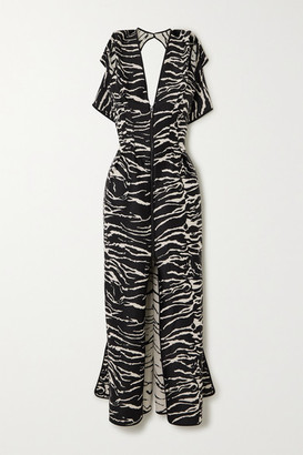 Maticevski Insecta Zebra-jacquard Maxi Dress - Zebra print
