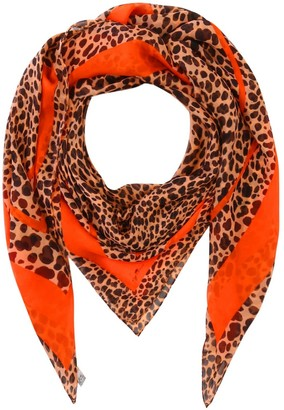 Klements Large Square Scarf In Leonard's Skin Cheetah Print