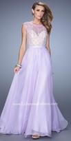 La Femme Embellished Illusion Chiffon Prom Dress