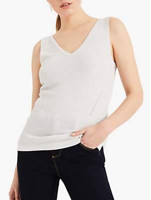 Phase Eight Knitted V-Neck Vest, Silver/Ivory
