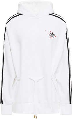 adidas Embroidered Striped Cotton-blend Jersey Hoodie