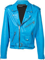 Enfants Riches Deprimes - zip up biker jacket - men - Silk/Leather - XL