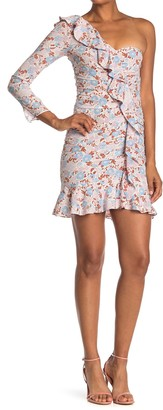 Veronica Beard Cass Floral One-Shoulder Silk Blend Dress
