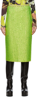 Dries Van Noten Green Embroidered Sequin Skirt