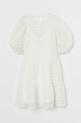 H&M Puff-sleeved Lace Dress - White