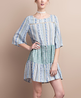 Jane Warm Blue Floral Tie-Waist Bell-Sleeve Dress