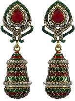Matra Ethnic Indian Traditional Goldtone Acrylic Stone Dangle Earrings Women Jewelry