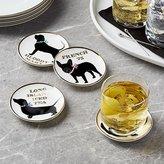 Crate & Barrel Dog Drink Coasters, Set of 4