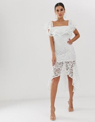 Club L London bardot ruffle lace midi dress-White