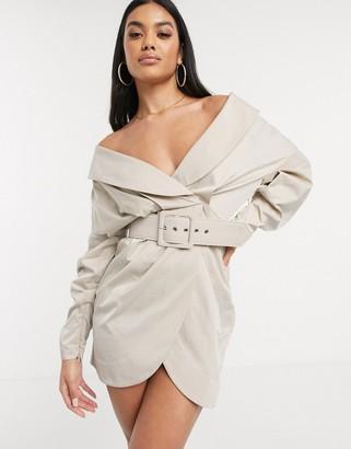 ASOS DESIGN off shoulder ruched belted tux mini dress in Camel