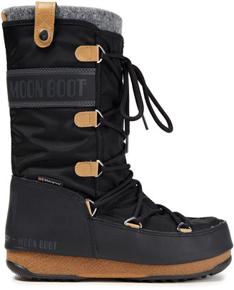 Moon Boot Monaco Lace-up Felt, Shell And Faux Leather Snow Boots