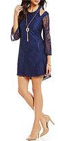 Jodi Kristopher Bell-Sleeve Lace Shift Dress